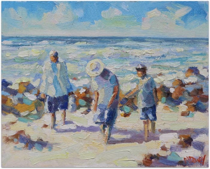 Shell Seekers oil painting by Malcolm Dewey