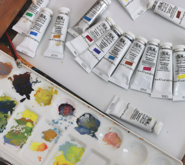 Gouache paints and mixing tray