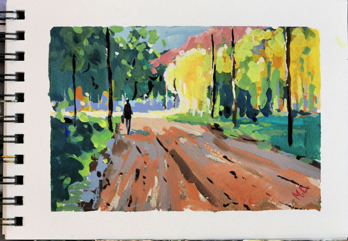 Gouache painting on watercolor paper